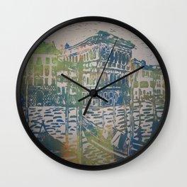 Multicoloured Print of Gondalas Wall Clock