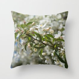 Macro shot of bird cherry blossom over blue sky Throw Pillow