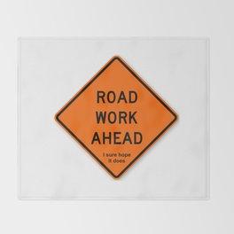 Road Work Ahead Meme Throw Blanket