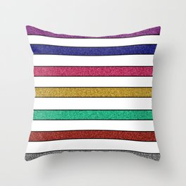 Stripes and glitter Throw Pillow