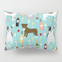 Pitbull wine champagne dog breed pet portrait pet friendly gifts for dog lovers Pillow Sham