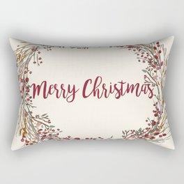 Merry Christmas Wreath Rectangular Pillow