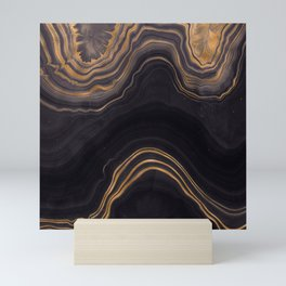 Dark Night Marble With Gold Glitter Waves Mini Art Print