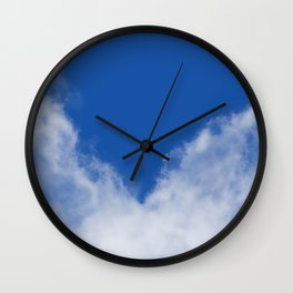 Clouds with blue heart design Wall Clock