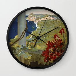 Isle of Capri Italian travel ad Wall Clock