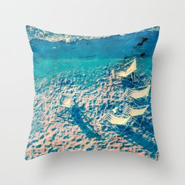 Deck chairs by the sea.. Throw Pillow