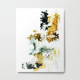 Nothing is Real: Mustard yellow, white, & charcoal gray abstract watercolor painting Metal Print