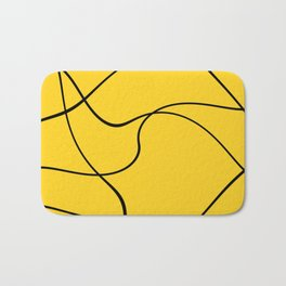 """Abstract lines"" - Black on yellow Badematte"