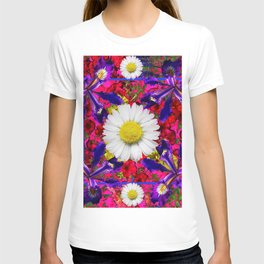 White Shasta Daisies Purple Floral Garden Art T-shirt
