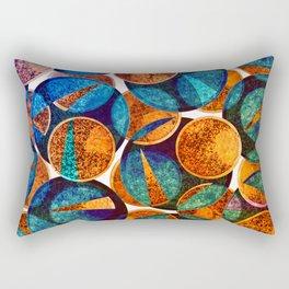 Modern Abstract Circle Slice Blue Orange Green Mauve Rectangular Pillow