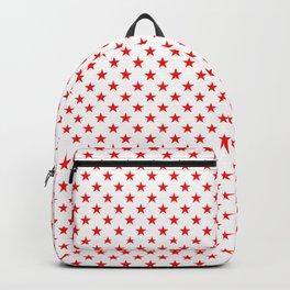 Large Australian Flag Red Stars on White Backpack