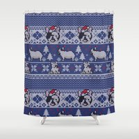 frenchie Shower Curtains featuring Christmas Frenchie by Huebucket