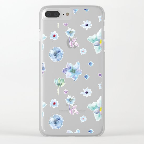 Delicate Floral Pattern 02 Clear iPhone Case