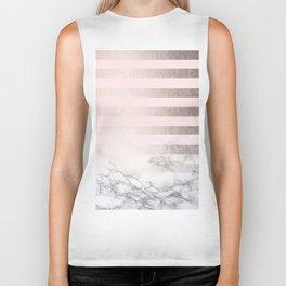 Rose Gold Pink Stripes and Marble Design Biker Tank