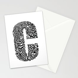Alphabet Letter C Impact Bold Abstract Pattern (ink drawing) Stationery Cards