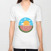 hakuna V-neck T-shirts featuring Watermelon x Summer by Hakuna Mettata