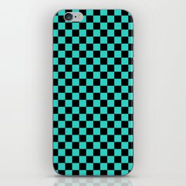 Black and Turquoise Checkerboard iPhone Skin