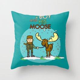 A BOY & HIS MOOSE Throw Pillow