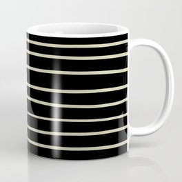 Natural Olive Green - Martinique Dawn - Asian Silk Hand Drawn Horizontal Lines on Black Coffee Mug