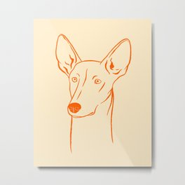 Ibizan Hound (Beige and Orange) Metal Print