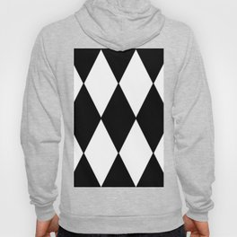 LARGE BLACK AND WHITE HARLEQUIN DIAMOND PATTERN Hoody