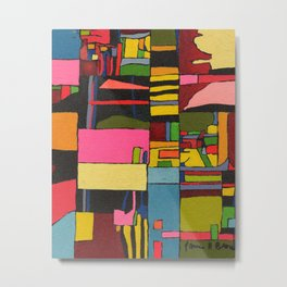 Colors in Collision 2 - Geometric Abstract in Blue Yellow Pink and Green Metal Print