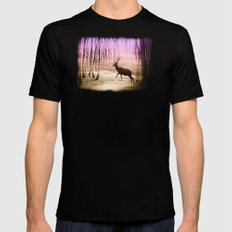 Deer in a foggy forest Black Mens Fitted Tee MEDIUM