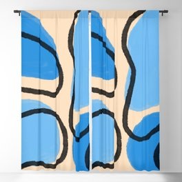 Primary Color Abstract Shapes Series One   Blue Modern Minimalist Home Decor Pattern Blackout Curtain