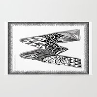waldo Area & Throw Rugs featuring Zentangle W Monogram Alphabet Illustration by Vermont Greetings
