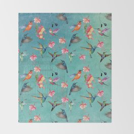 Vintage Watercolor hummingbirds and fuchsia flowers Throw Blanket