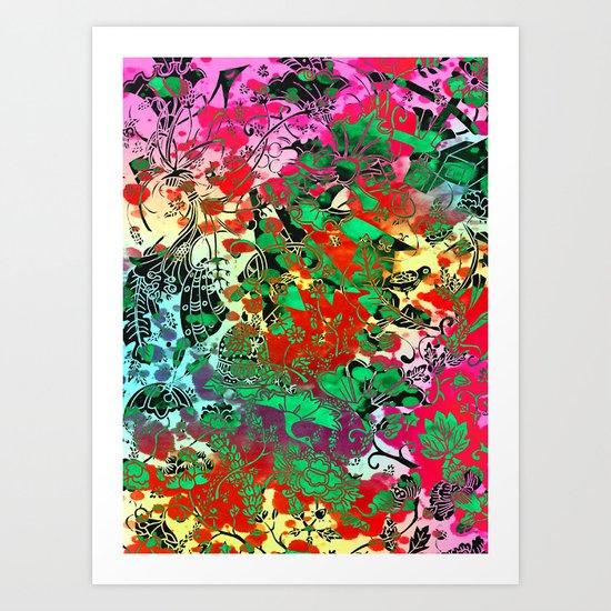 Splash Colour Decorative Motif Art Print