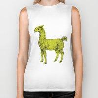 llama Biker Tanks featuring llama by youareconstance