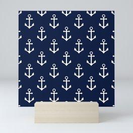 Navy Blue Nautical Anchor Pattern Mini Art Print