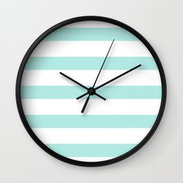 Aqua blue and White stripes lines - horizontal on #Society6 Wall Clock