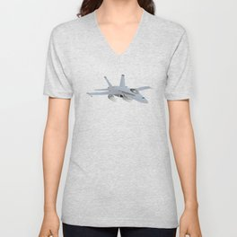American F-18 Jet Fighter Unisex V-Neck