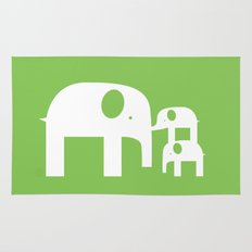 Green Elephants Rug