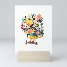 Floral Scooter Babe Mini Art Print