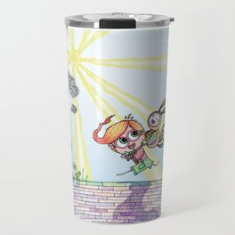 Laughing Along the Path - One Boy and a Toy Travel Mug