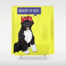 Political Pup - Regiser to Vote Shower Curtain