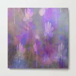 Painterly Dancing Violets Abstract Metal Print