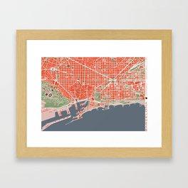 Barcelona city map classic Framed Art Print