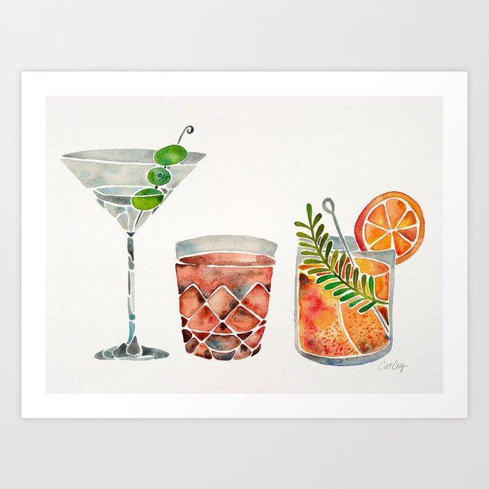 Classic Cocktails  – 1960s Watercolor Lineup Art Print