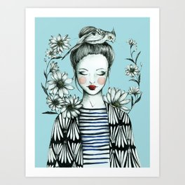 Girl and Bird Art Print