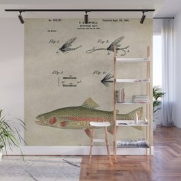 Vintage Rainbow Trout Fly Fishing Lure Patent Game Fish Identification Chart Wall Mural