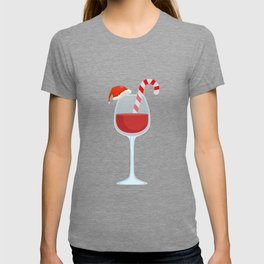Wine Glass Christmas Candy Cane funny gift T-shirt