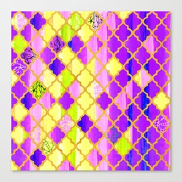 Moroccan Tile Pattern In Purple And Yellow Canvas Print