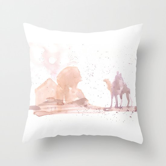 Watercolor landscape illustration_Egypt Throw Pillow