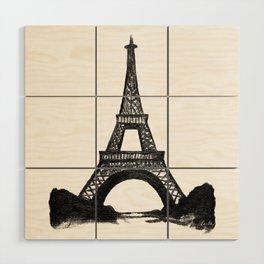 Eiffel Tower in Black Wood Wall Art