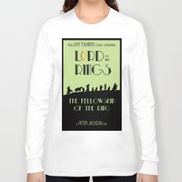 lotr Long Sleeve T-shirts featuring LOTR The Fellowship of the Ring Minimalist Poster by Sean Breeding Arthouse