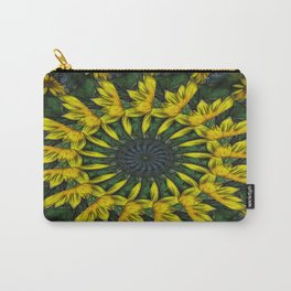 Large Yellow Wildflower Kaleidoscope Art 12 Carry-All Pouch